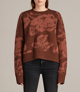 Womens Kasuri Crew (COPPER RED) - Image 1