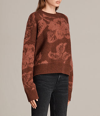 Womens Kasuri Crew (COPPER RED) - Image 3