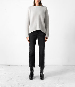 Damen Earth Crew Cashmere Jumper (PORCELAIN WHITE)