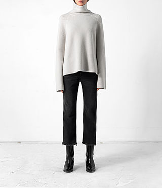 Damen Earth Roll Neck Cashmere Jumper (PORCELAIN WHITE)
