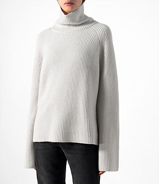 Mujer Earth Roll Neck Cashmere Jumper (PORCELAIN WHITE) - product_image_alt_text_2