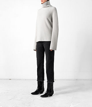 Mujer Earth Roll Neck Cashmere Jumper (PORCELAIN WHITE) - product_image_alt_text_3