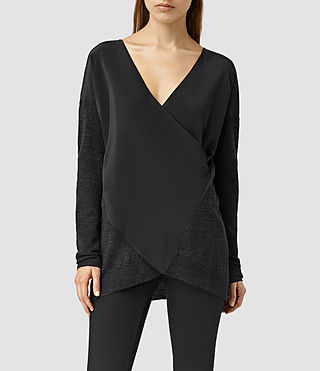 Womens Silk Twist Sweater (CIND BLK MARL/BLCK)