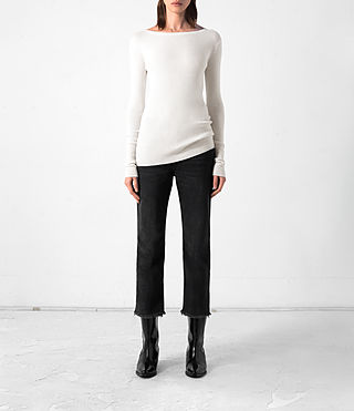 Women's Shins Cashmere Top (CREAM WHITE) -