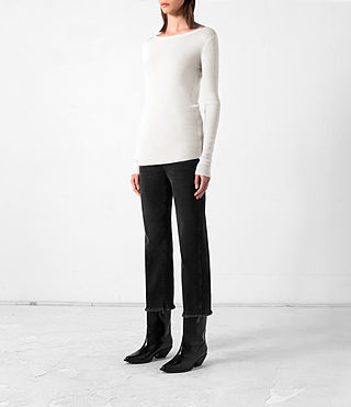 Women's Shins Cashmere Top (CREAM WHITE) - product_image_alt_text_3