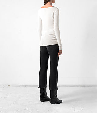 Women's Shins Cashmere Top (CREAM WHITE) - product_image_alt_text_4