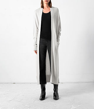 Damen Eyes Cashmere Cardigan (PORCELAIN WHITE)