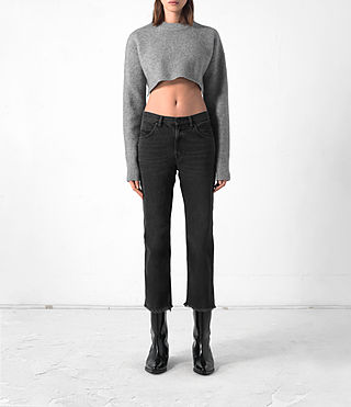Mujer Cropped Naomi Jumper (Light Grey)