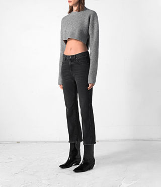 Femmes Cropped Naomi Jumper (Light Grey) - product_image_alt_text_3