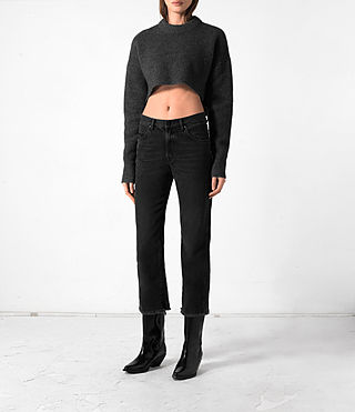 Women's Cropped Naomi Jumper (Charcoal Grey) -
