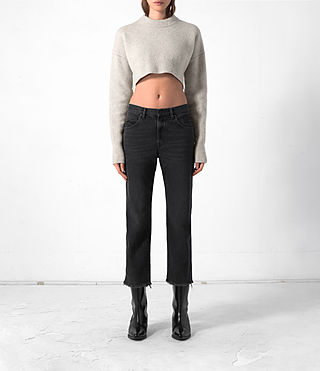 Women's Cropped Naomi Jumper (Pebble Grey) -