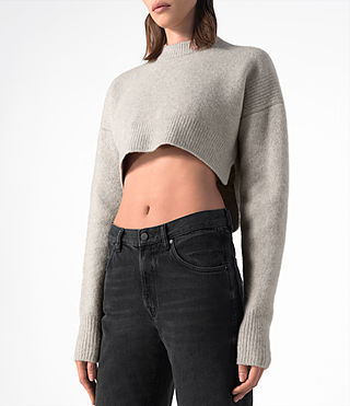 Women's Cropped Naomi Jumper (Pebble Grey) - product_image_alt_text_2