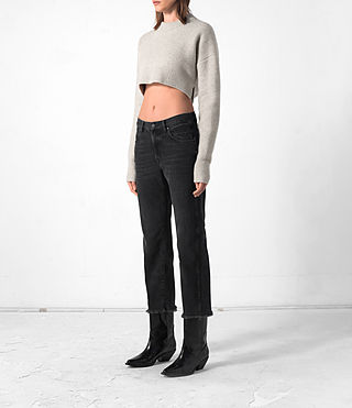 Women's Cropped Naomi Jumper (Pebble Grey) - product_image_alt_text_3
