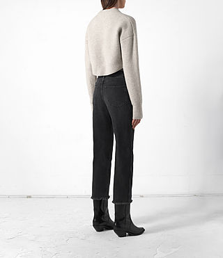 Women's Cropped Naomi Jumper (Pebble Grey) - product_image_alt_text_4