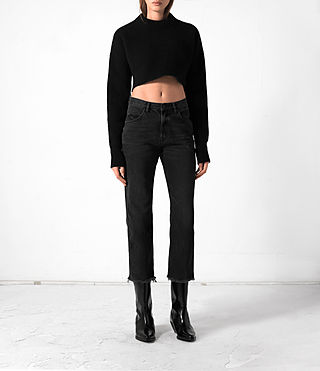 Women's Cropped Naomi Jumper (Black) -