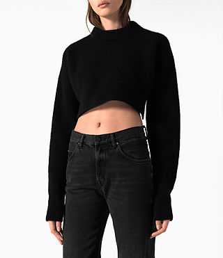 Damen Cropped Naomi Jumper (Black) - product_image_alt_text_2