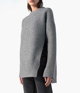 Damen Long Naomi Jumper (Light Grey) - product_image_alt_text_2