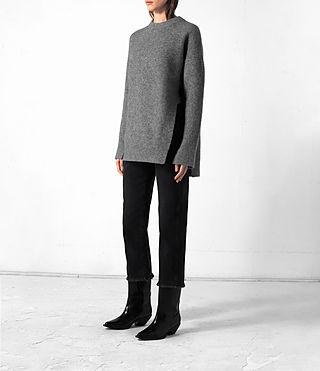 Damen Long Naomi Jumper (Light Grey) - product_image_alt_text_3