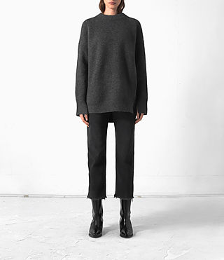 Women's Long Naomi Jumper (Charcoal Grey)
