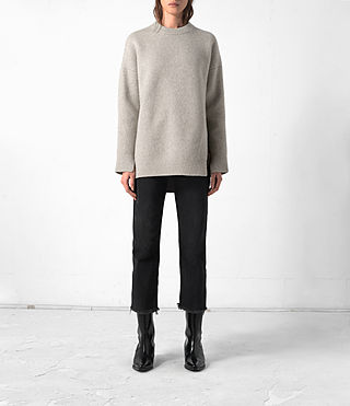 Femmes Long Naomi Jumper (Pebble Grey) -