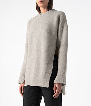Femmes Long Naomi Jumper (Pebble Grey) - product_image_alt_text_2
