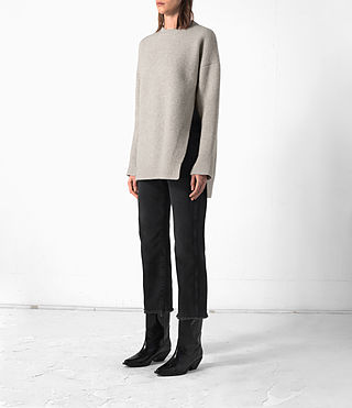 Femmes Long Naomi Jumper (Pebble Grey) - product_image_alt_text_3