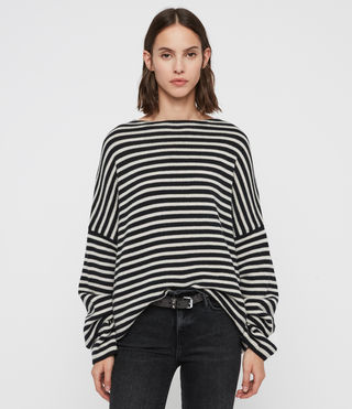 Womens Marcel Crew Sweater (INK/ECRU WHITE) - Image 1