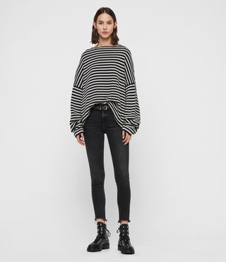 Womens Marcel Crew Sweater (INK/ECRU WHITE) - Image 4