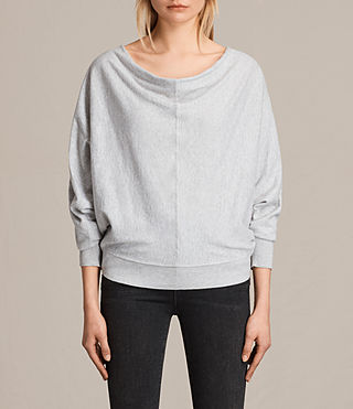 Women's Elgar Cowl Neck Jumper (Grey Marl) -