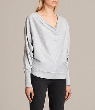 Womens Elgar Cowl Neck Sweater (Grey Marl) - product_image_alt_text_2