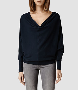 Womens Elgar Cowl Neck Sweater (Midnight)