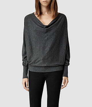 Womens Elgar Cowl Neck Sweater (Charcoal) - product_image_alt_text_1