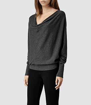 Womens Elgar Cowl Neck Sweater (Black) - product_image_alt_text_2