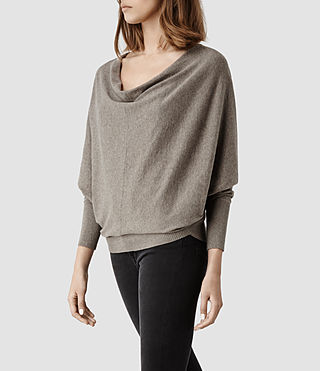 Womens Elgar Cowl Neck Sweater (Charcoal) - product_image_alt_text_2