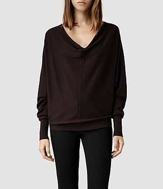 Womens Elgar Cowl Neck Sweater (Deep Burgundy)