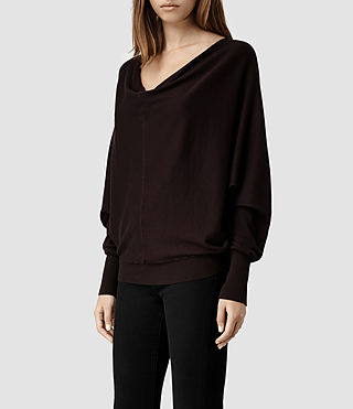 Womens Elgar Cowl Neck Sweater (Deep Burgundy) - product_image_alt_text_2