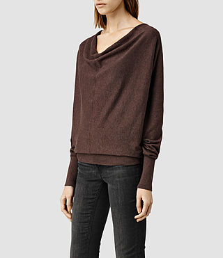 Womens Elgar Cowl Neck Sweater (RUM RED MARL) - product_image_alt_text_2