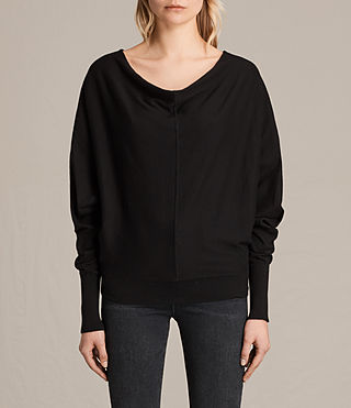 Womens Elgar Cowl Neck Sweater (Black) - product_image_alt_text_1