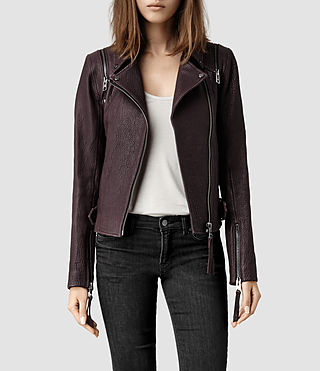 Womens Alford Leather Biker Jacket (Deep Burgandy)
