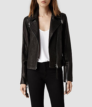 Womens Alford Leather Biker Jacket (Black)