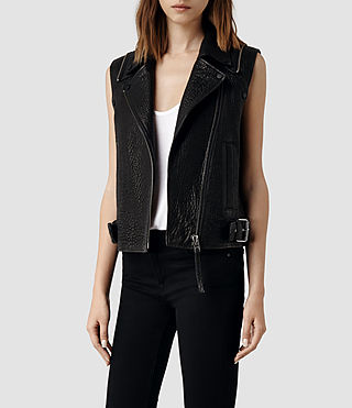 Womens Alford Leather Biker Jacket (Black) - product_image_alt_text_2