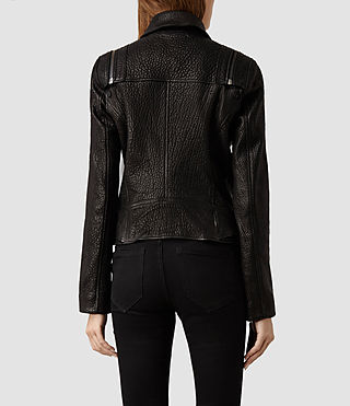 Womens Alford Leather Biker Jacket (Black) - product_image_alt_text_3