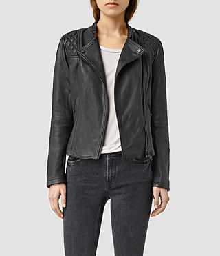 Femmes Randall Leather Biker Jacket (Black)