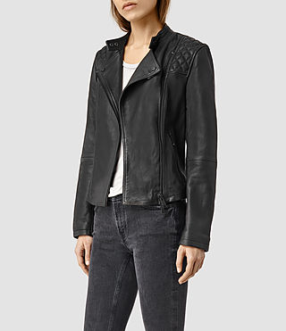 Womens Randall Leather Biker Jacket (Black) - product_image_alt_text_2