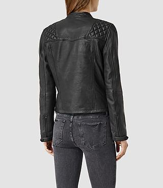 Womens Randall Leather Biker Jacket (Black) - product_image_alt_text_3