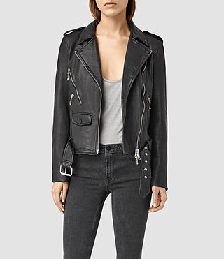 Damen Rawley Leather Biker Jacket (Black)
