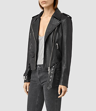 Mujer Rawley Leather Biker Jacket (Black) - product_image_alt_text_2
