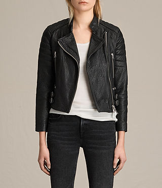 Mujer Silsden Leather Biker Jacket (Black)