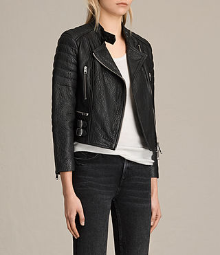 Women's Silsden Leather Biker Jacket (Black) - Image 5