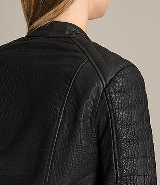 Women's Silsden Leather Biker Jacket (Black) - Image 7